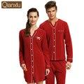 Amantes Qianxiu Casual color sólido de la largo-manga del Camisón de algodón Modal cardigan chándal pijamas 1537