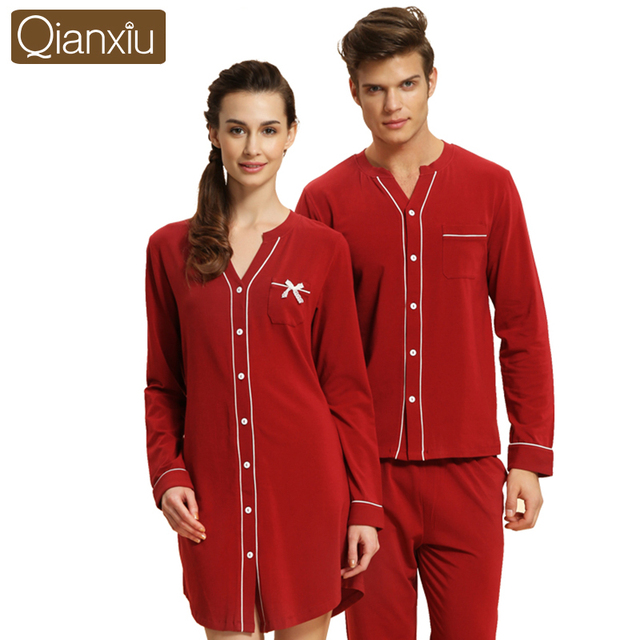 Qianxiu Lovers Casual Nightgown Modal cotton solid color long-sleeved cardigan tracksuit pajamas 1537