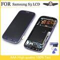 Pantalla lcd de pantalla para samsung galaxy s3 i9300 lcd marco para samsung s3 i9300 pantalla lcd blanco azul