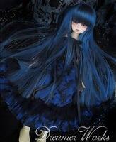 New BJD 1/3 22-23 cm 1/4 18-18.5 cm Dal. Pullip. BJD. SD MSD Dollfie Doll Seductie Blu Parrucca Nera Lunga