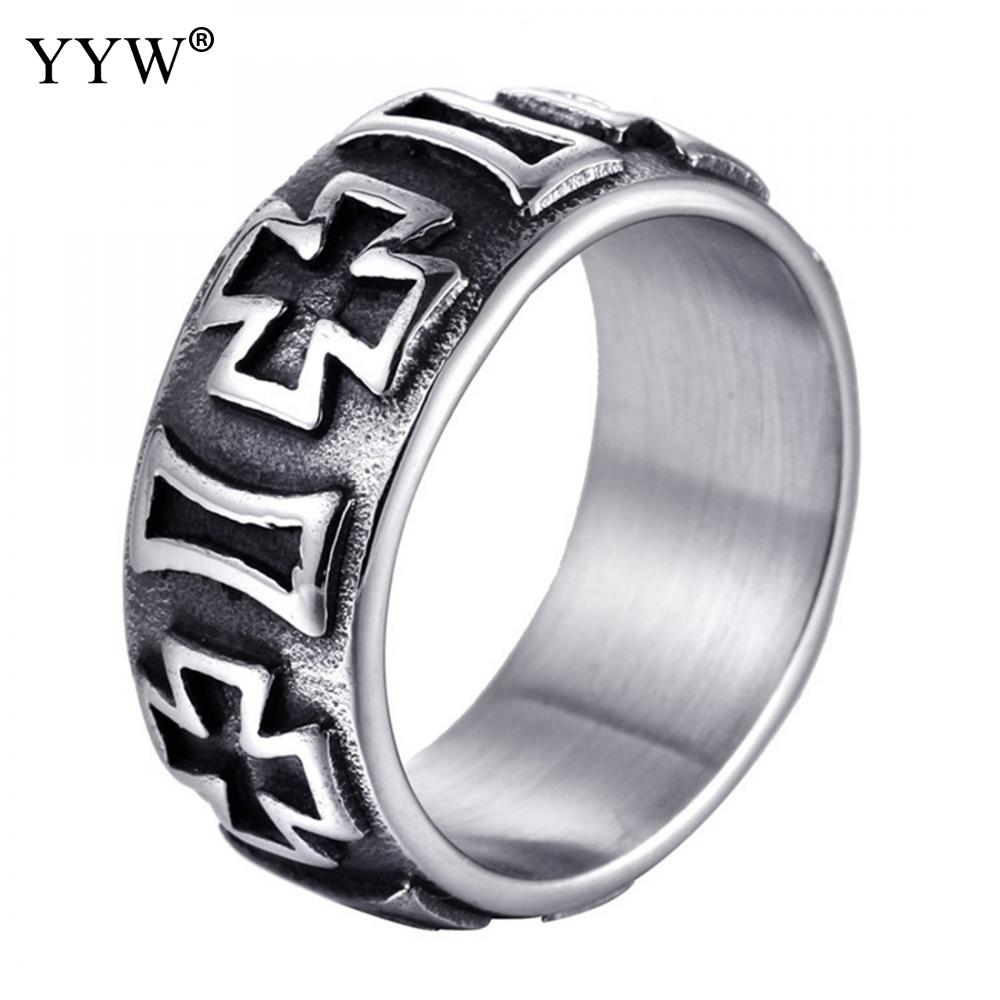 Punk Rock Style Ring Mens Fashion Finger anillo Hip Hop Ring Size 8/9/10/11/12 Retro Titanium Steel Rings for Men Jewelry