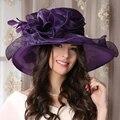 Púrpura de Gran Visera de Sol Sombreros Para Damas Mujeres Kentucky Derby Sombrero de Flores de Verano