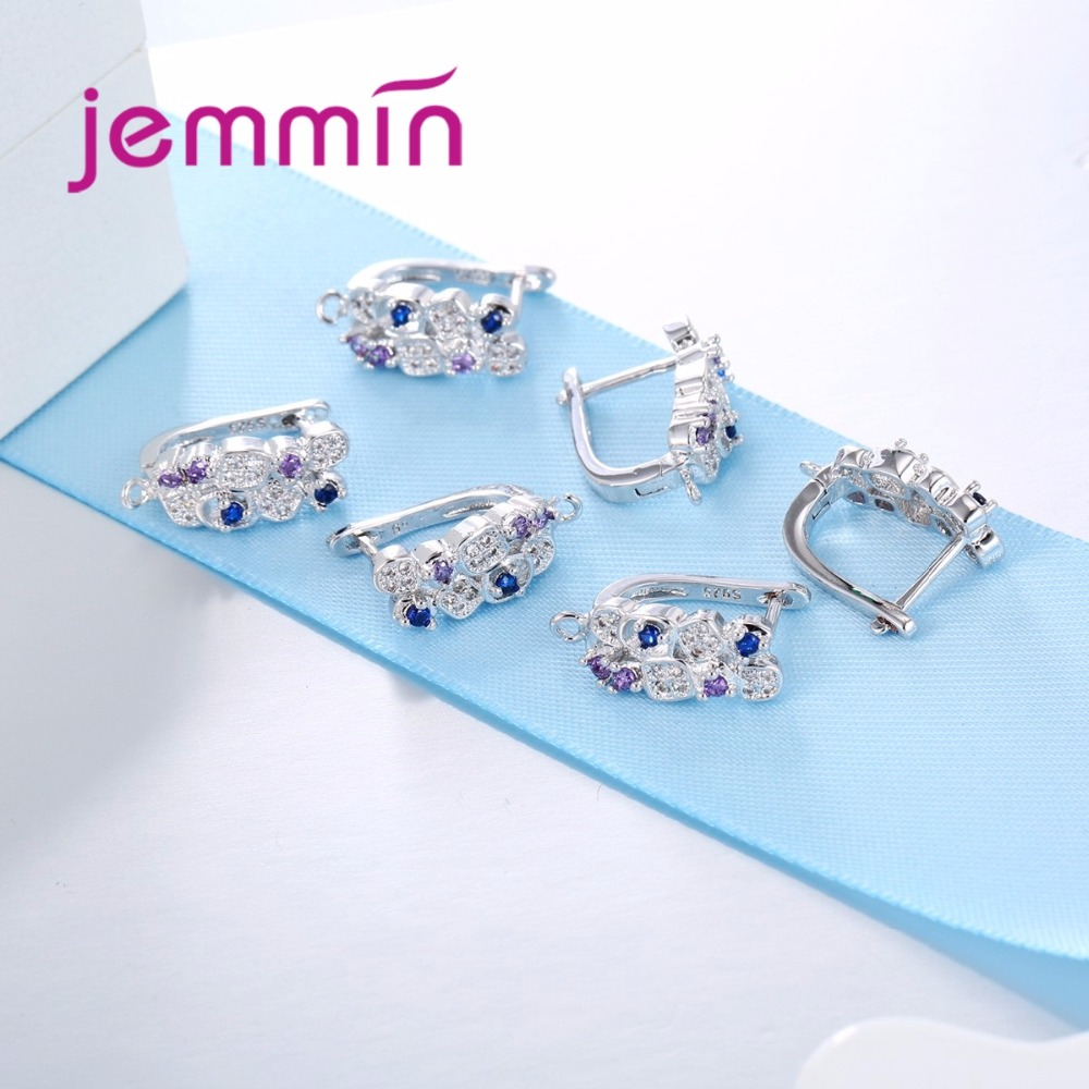 Jemmin S925 Slterling Sliver Earrings Inlay Fargeløs Micro Crystal - Fine smykker - Bilde 3