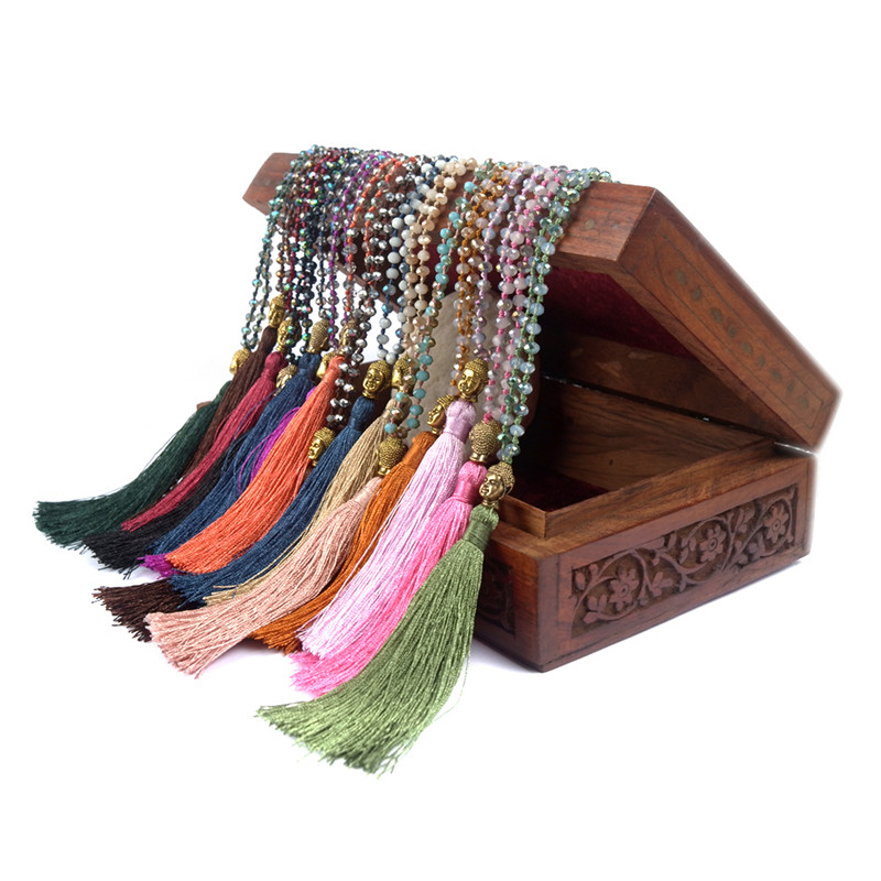 Shinus Boho Maxi Statement Necklace Tassel Jewelry Collier Long Bohemian Bijoux Femme Gold Buddha Crystal Bead