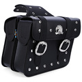 Paired Motorcycle PU Leather Saddlebag Saddle Tool Pouch Side Bag Harley Cruiser Storage Pouch High Capacity Left and Right