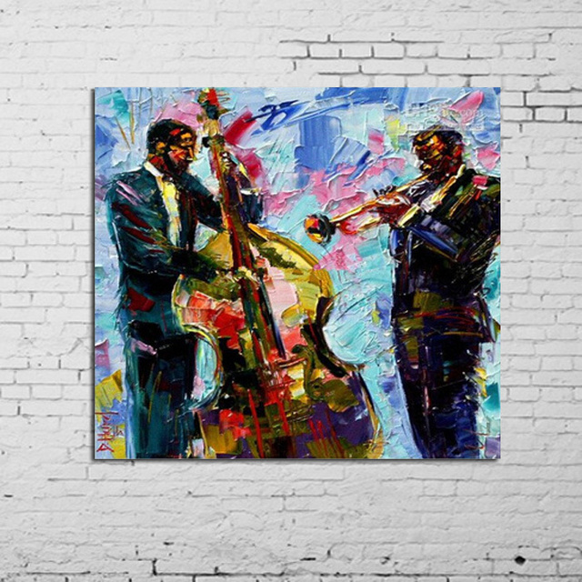 US $44.88 49% OFF|100% Jazz Moderne Handgemalte Öl Panting Zeitgenössische  Ursprüngliche Abstrakte Kunst Leinwand Amerikanische Kunst JAZZ in 100% ...