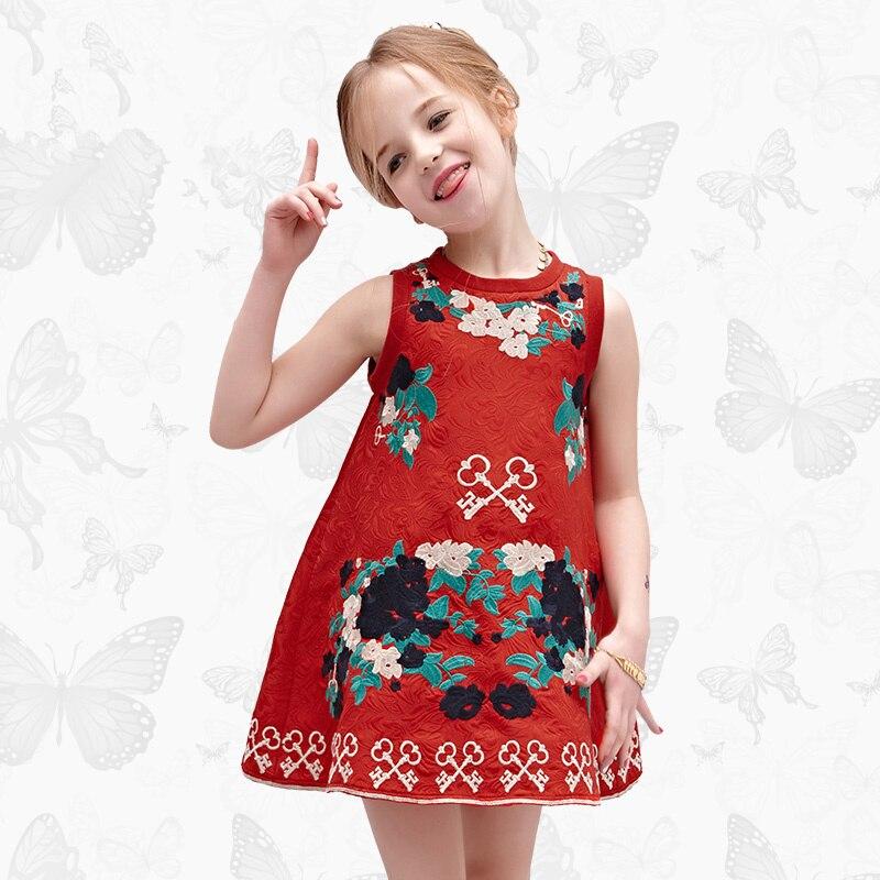все цены на W.L.MONSOON summer folk-custom Girls dress embroidery Children's vest dress Vintage Baby girl sleeveless Children's clothing Red