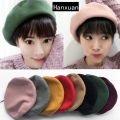2016 Fashion Vintage Winter Hats Cute Casual Girls Warm Women Beret Hats Candy Color Woman Berets Lovely Caps and Hats