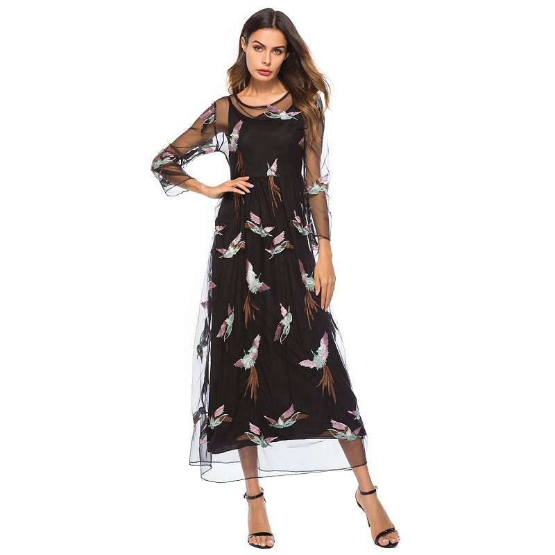 WHZHM Vintage Summer Embroidery Dress Women Lace Vestidos Two Pieces Dress Lace Full Sleeve Dress Big