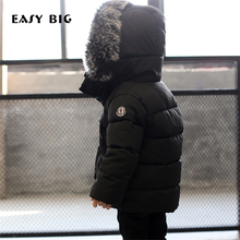 EASY BIG Winter Warm Hooded Children Down Jacket For Girls Unisex Children Parkas Jacket For Boys
