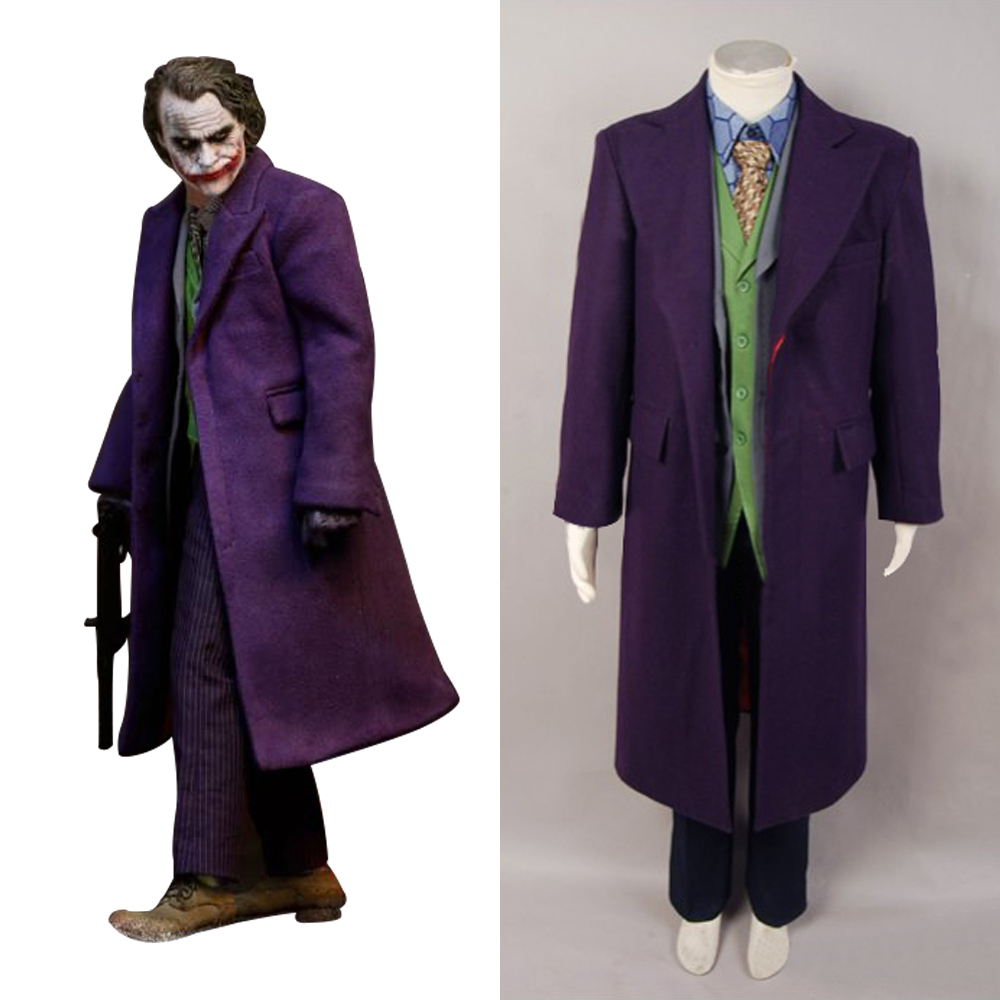 Cosplay Dark Knight Heath Ledger Joker 6 pcs Costume Set with Wool trench Coat Version Full Sets Uniform Halloween Carnival