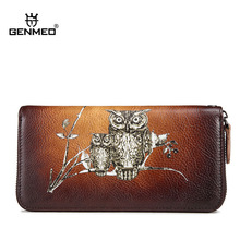 GENMEO New Retro Genuine Leather Wallet Female 3D Owl Pattern Vintage Cowhide Clutch Wallets Coin Purse Card Holders Billetera