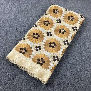 Image 1 - Originale ricamato Beige con Caffè svizzero del merletto del voile in Svizzera con pietre 048 5 metri 100% Abito di Pizzo di Cotone per partito
