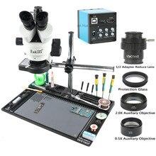 حامل منضدة من الألومنيوم بكاميرا ميكروسكوب للفيديو 20 ميجابكسل HDMI USB 3.5X 90X مجهر ستريو ثلاثي العينيات