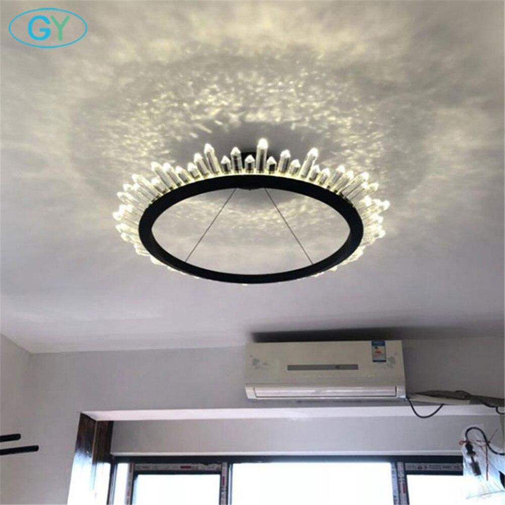 New Design Black D60cm 37w Led Res Chandelier Gold D80cm 50w Ring Crystal Chandeliers Lighting