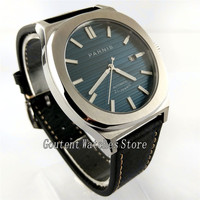 Parnis 43mm Blue Dial Leather Band Automatic Men Watch 2712