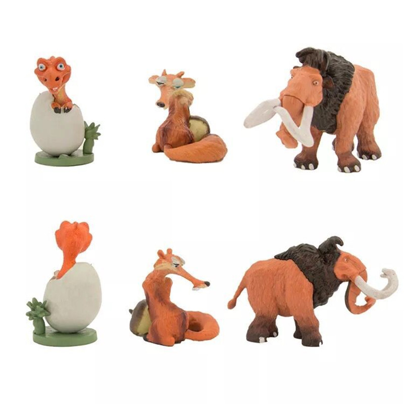 1set lot 8 10cm pvc The ice age doll elephant squirrel fox dinosaur boys toys Holiday gifts Christmas gift car desk is set in Action Toy Figures from Toys Hobbies