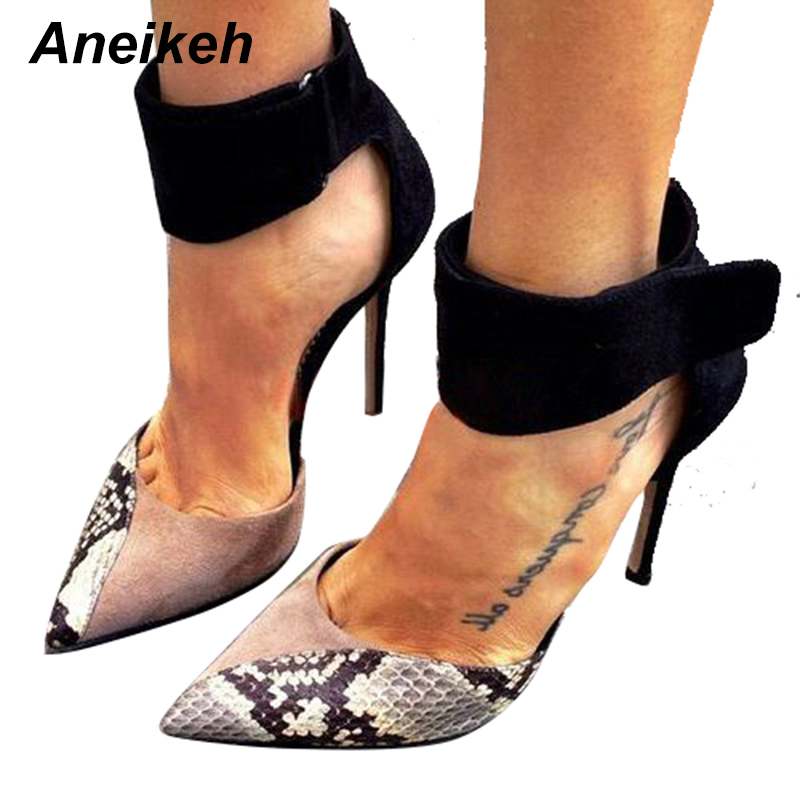 Aneikeh 2018 Newest Fashion Pointed Toe Single Shoes Women Heels Office Lady Vogue Sexy Snake Pattern Pumps Size 35-40 BlackAneikeh 2018 Newest Fashion Pointed Toe Single Shoes Women Heels Office Lady Vogue Sexy Snake Pattern Pumps Size 35-40 Black