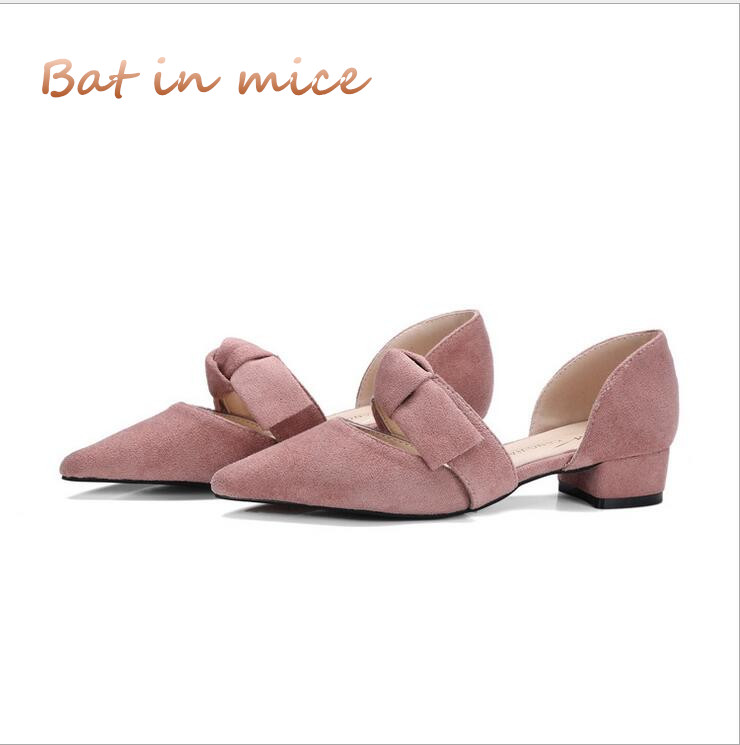 2018 Spring New Low Heel Shallow mouth Shoes Women Young Lady Sweet Bow Pumps Square Heel Pointed Toe Casual Summer Sandals C046 2018 spring summer new women s pumps scrub sheepskin flowers rhinestone coarse high heel shallow mouth craft shoes