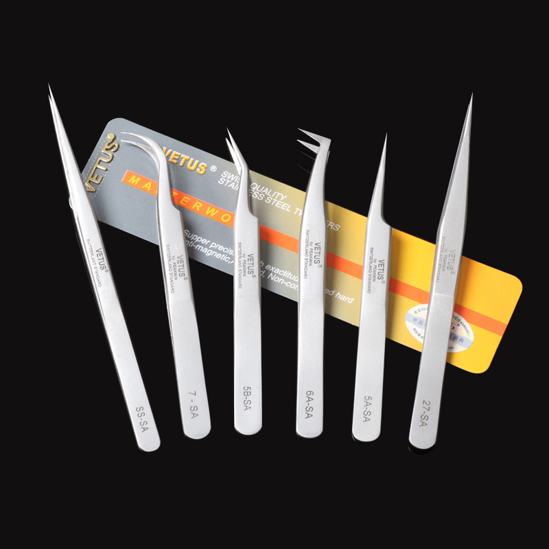 VETUS SA Series Stainless Steel Hyperfine High Precision Antimagnetic Anti Acid Tweezers Pro Tool for Eyelash Extension недорого