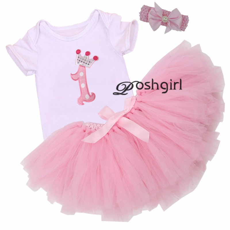 3494cb003c33 3Pcs Set Baby Girl Crown Tutu Dress Infant 1st Birthday Party Outfit Romper  Bubble Skirt Headband Bebe Newborns Tulle Vestidos-in Clothing Sets from  Mother ...