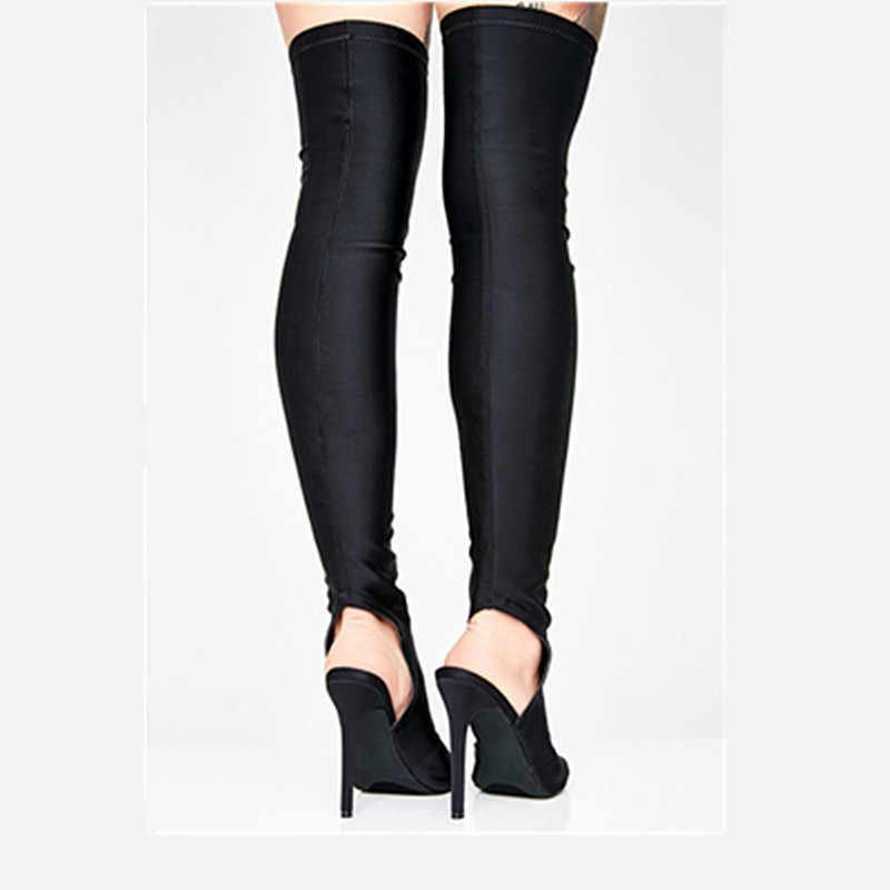 Nueva moda sobre la rodilla Mujer Zapatos Sexy punta abierta estiramiento tela muslo botas altas botas tacón fino negro espacio botas largas