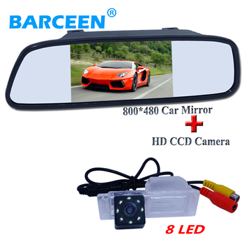 "5"" car  screen mirrror moitor lcd  with 8 led car rear reversing camera waterproof suitable for Chevrolet Cruze hatchback"