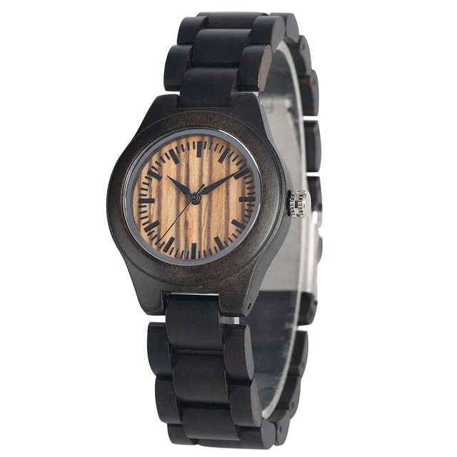 Casual Ebony Wood Watch Quartz Watch Movement for Women Timekeeper Wood Strap Natural Handmade Elegant Wooden Wrist Watches | Fotoflaco.net