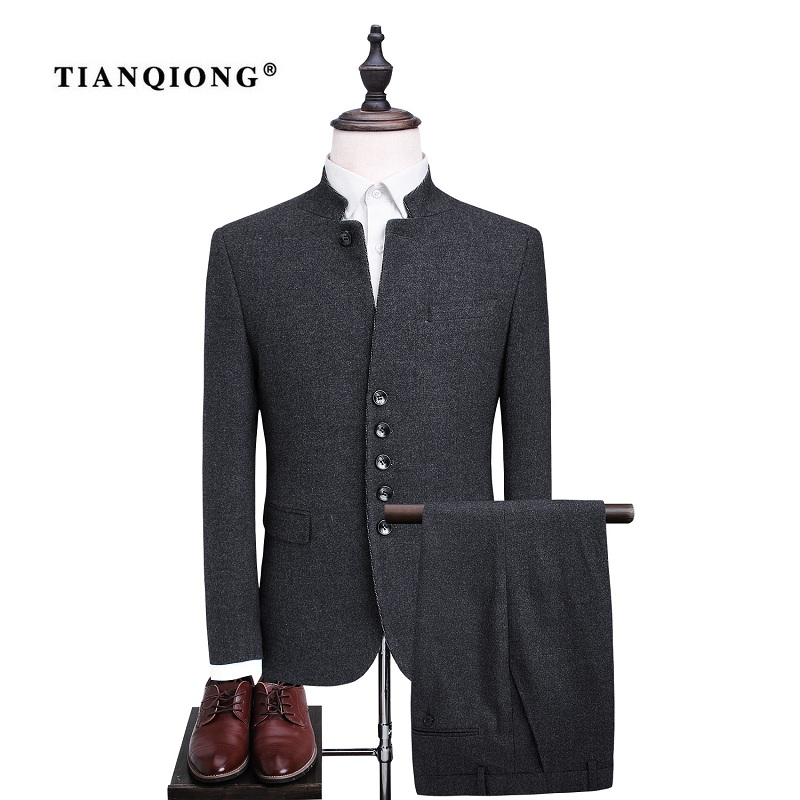 TIAN QIONG Men's Single Breasted Wool Suit Sets Fashion Chinese Tunic Suit Men Slim Fit Formal Black Blazers Jacket and Trousers single breasted slim fit blazer men chinese tunic suit jacket male suits man fashion blazers stand collar autumn plus velvet