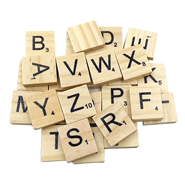 FBIL-100pcs Wooden Scrabble Tiles Craft Jewellery Making Complete Set (Capital letters)