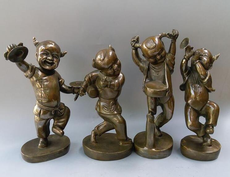 Chinese new products listed pure brass Four lovely children craftsChinese new products listed pure brass Four lovely children crafts