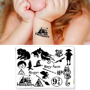 الجدة الكمامة لعب الأطفال المؤقتة الوشم ملصق الكرتون تاتو الجسم الفن تأثيري ل هاري بوتر المشجعين للماء 2-3 أيام