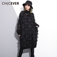CHICEVER 2018 Spring Lace Tassel Women Dress Female Loose Pullovers Long Sleeve Women S Dresses Of