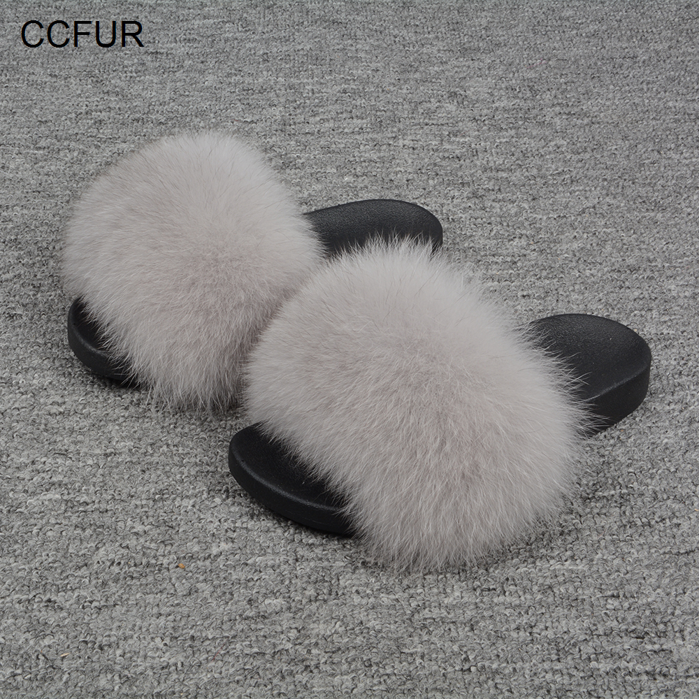 31 Färger Fox Fur Slides Hår Tofflor Fluffy Real Fur Slider Furry - Damskor - Foto 5