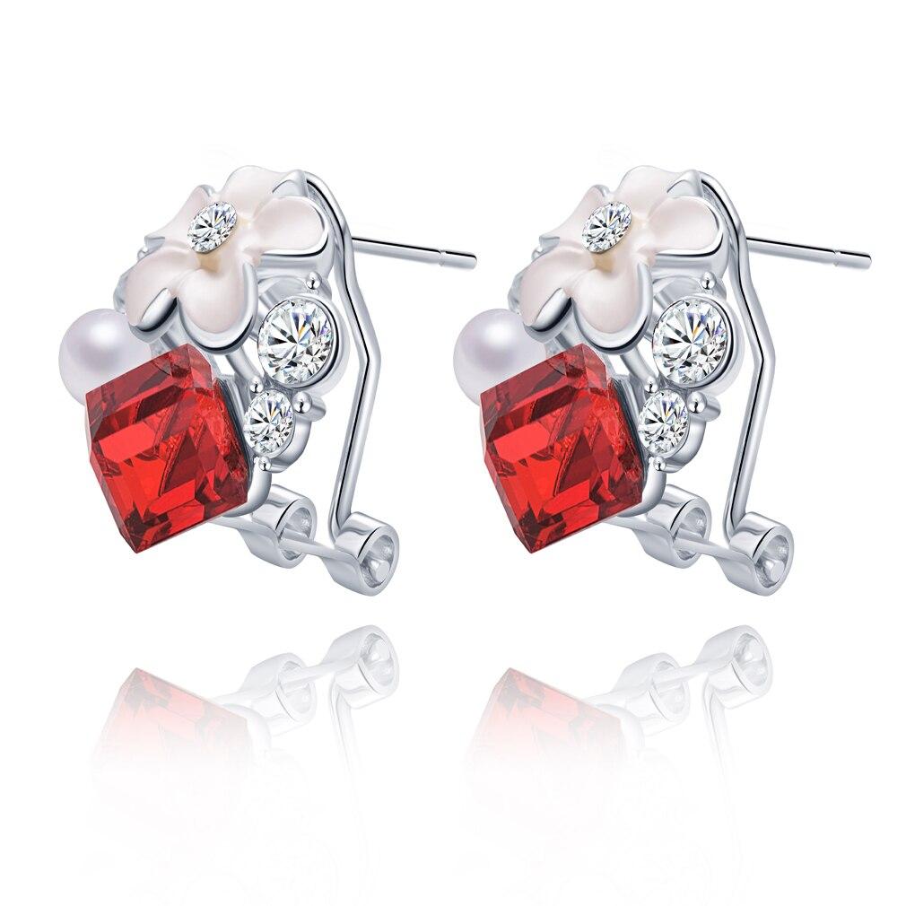 409cc39e0f4e 2016 Nuevo 1 par moda Pendientes plateado flor cristal rhinestone mujeres  perno prisionero del encanto del regalo del partido