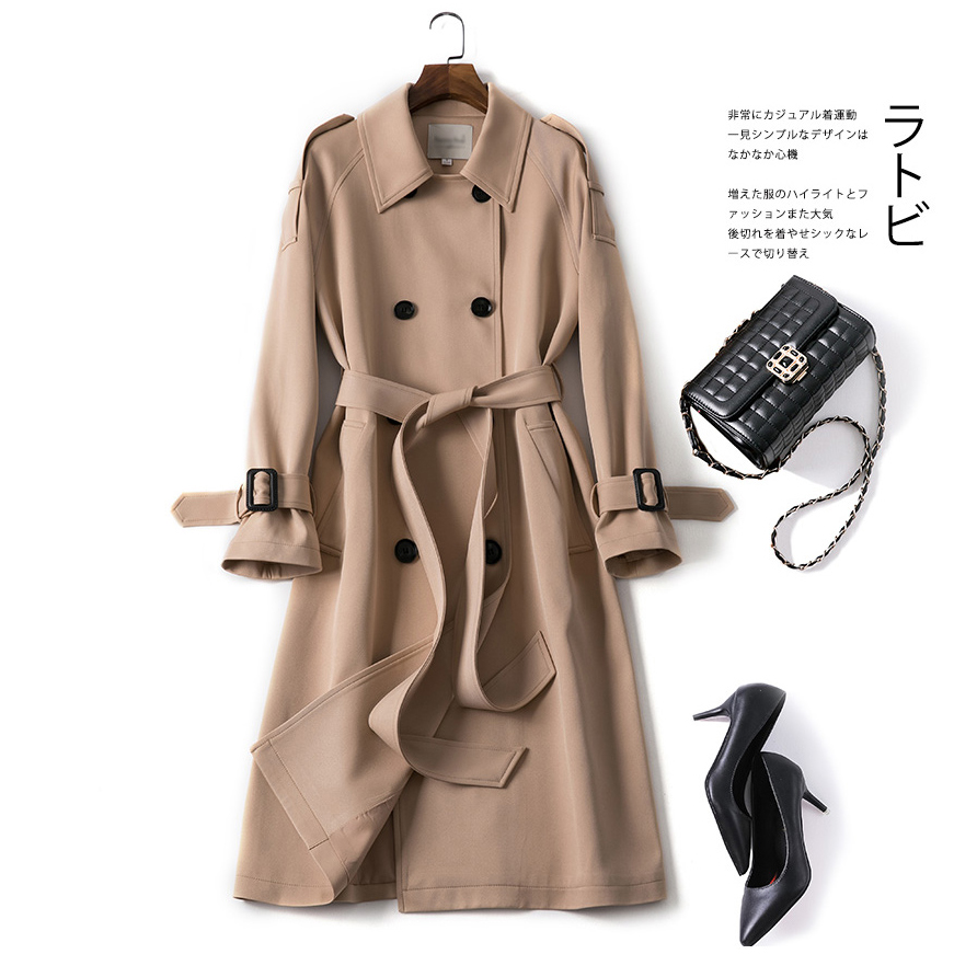 Long Coat Khaki   Trench   Coat Women Windbreaker Korean Double Breasted Office Female Windproof Elegant   Trench   Coat Fashion 2019