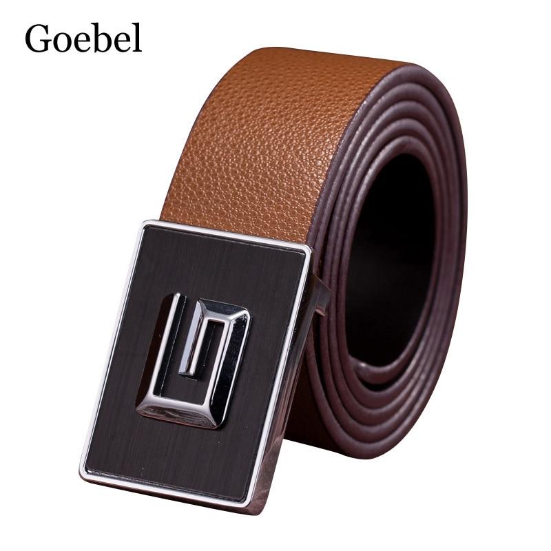 Goebel Men Belt Popular Creative PU Leather Designer Mens Belts Fashion All-Match Smooth Buckle Men's Belt Brand men s alligator head patterned elegant split leather belt w smooth buckle black