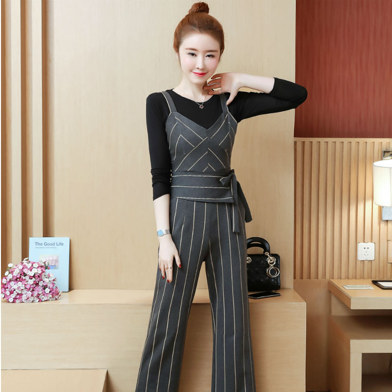 YICIYA Women outfits tracksuit sportswear Striped top and bib pants suits 2 piece set co-ord set OL Office 2019 bodycon clothing 2