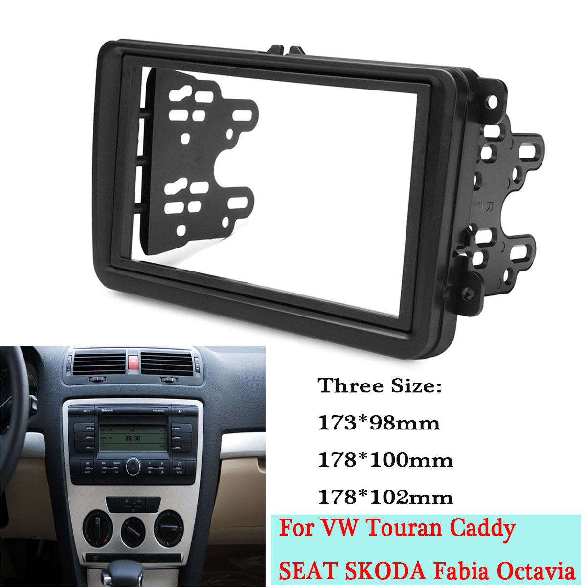Car Double Din Frame Fascia Panel Adapter Kit Dvd Dash Trim For Radio Wiring Stereo Fitting Volkswagen Vw Touran Caddy Seat Skoda Fabia Octavia In Fascias From Automobiles