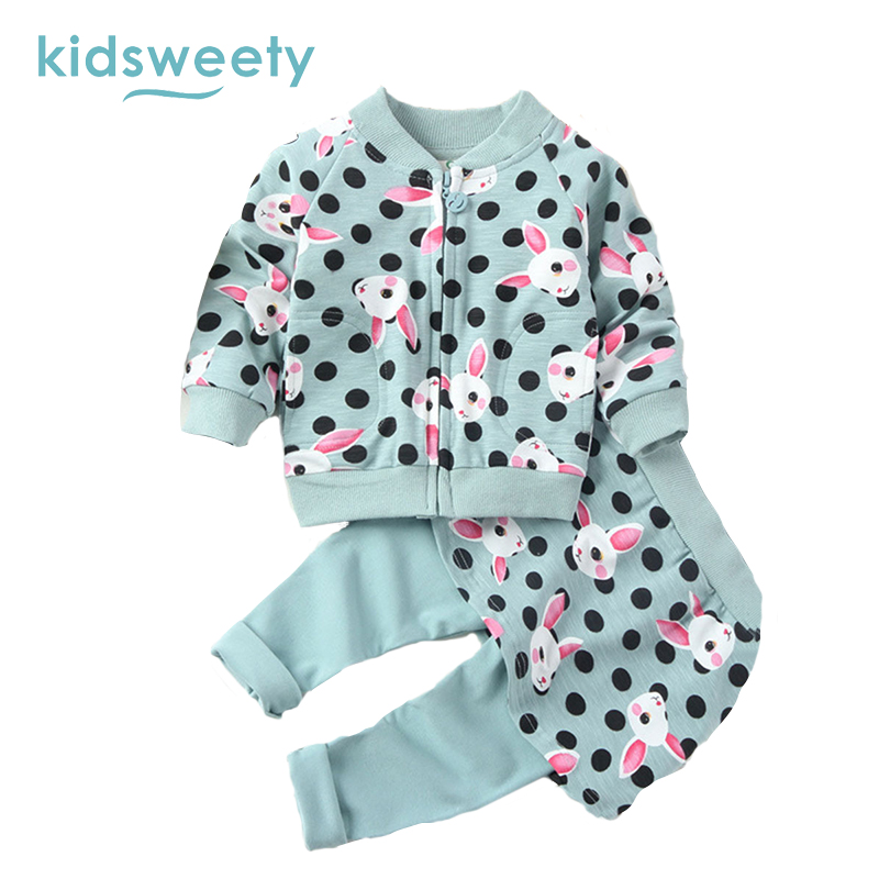 Kidsweety Girls Suits Cotton Cartoon Pattern Long Sleeve Children Zipper Closure Coat Pants Kid Pocket Twinset Casual Girls Suit цены онлайн