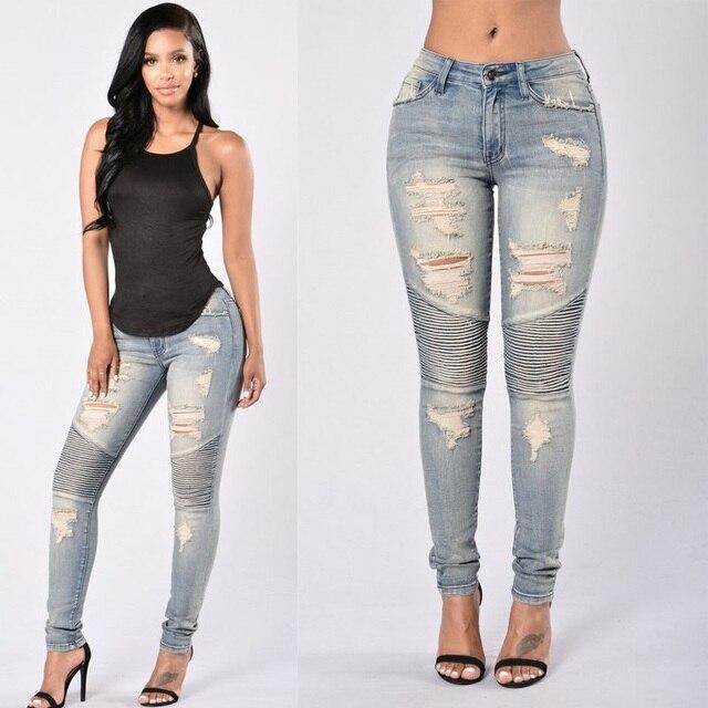 52d2260ff21 Женские Стрейчевые рваные сексуальные обтягивающие джинсы с высокой талией  Slim Fit джинсовые брюки Slim denim Прямые