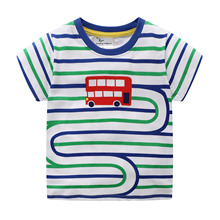 Summer 2019 100% cotton children clothing Tops Tees boy car print striped girl T-Shirts Kids clothes short sleeve Tshirt boy Top