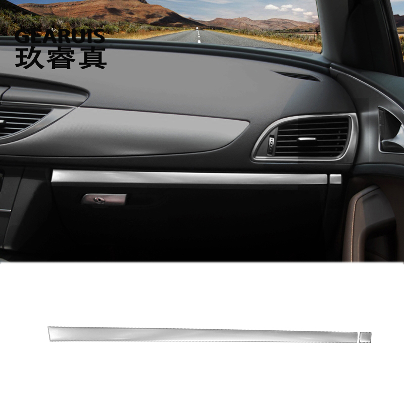 Car styling interior Copilot Glove box handle decoration cover trim stainless steel Stickers For Audi A6 C7 A7 Auto Accessories for mazda cx 5 cx5 2017 2018 kf 2nd gen car co pilot copilot stroage glove box handle frame cover stickers car styling