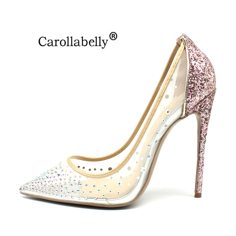 e0b6b98fa9 Carollabelly Brand Shoes Bling Sexy Design Pumps Pointed Toe Women ...
