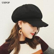 USPOP популярные женские шерстяные Восьмиугольные шляпы женские newsboy однотонные кепки козырек шапки толстые теплые зимние шерстяные шапки береты