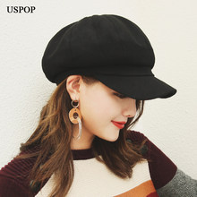 eb6ae3f3908 USPOP 2018 New women wool Octagonal Hats female Solid color visor caps  thick warm winter hats berets