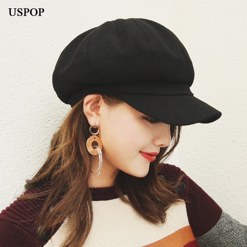 USPOP 2019 Hot Women Wool Octagonal Hats Female Newsboy Caps Solid Color Visor Caps Thick Warm Winter Wool Hats Berets