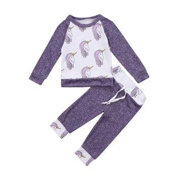 أحدث وصول pudcoco الساخن وليد طفل طفلة الزي الملابس أعلى عارضة سروال لينة نمط يونيكورن لطيف مجموعة