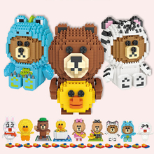 Mini Qute LOZ Kawaii bear series dog duck cartoon Plastic diamond Building Block Brick action figures DIY Educational Toy loz 150pcs m 9138 pokemon gengar building block educational toy for cooperation ability