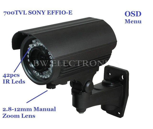 Free shipping Sony EFFIO-E 700TVL IR CCTV Bullet Waterproof Security Surveillance Video Monitor Camera With Zoom Lens BW40T7